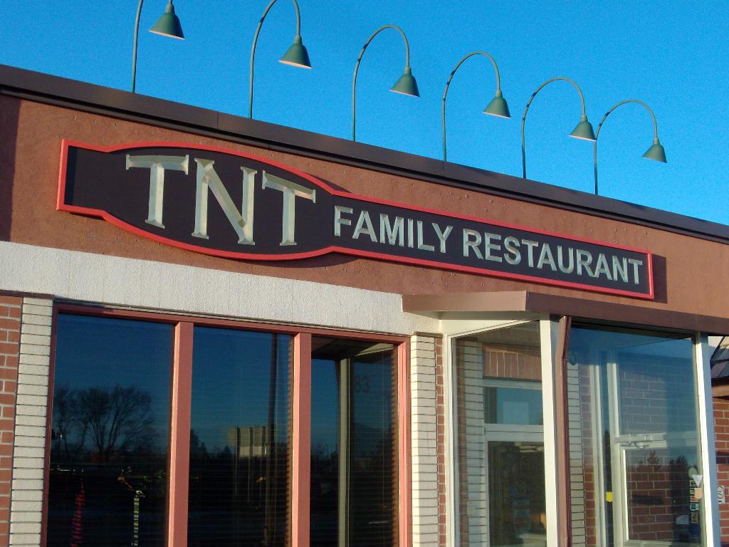 Carved sign with 24k Gold Leaf for TNT Restaurant