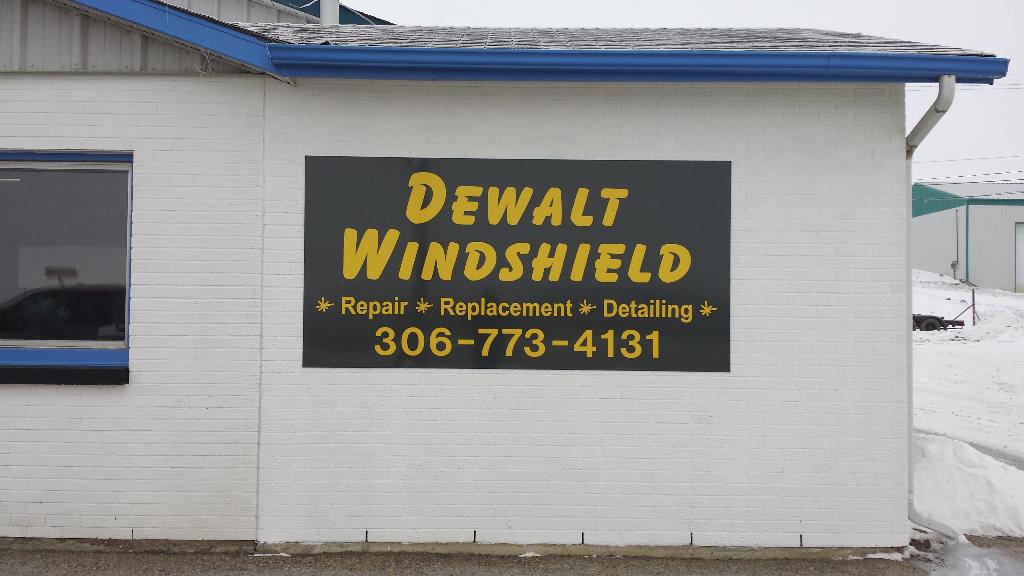 Exterior panel sign for Dewalt Windshield