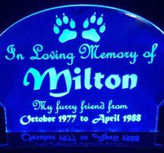 Pet Memorial edge lit LED lights.